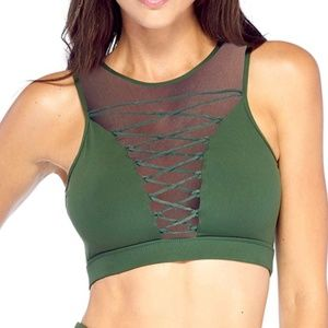 Electric Yoga Olive Entrapped Lace-Up Sports Bra
